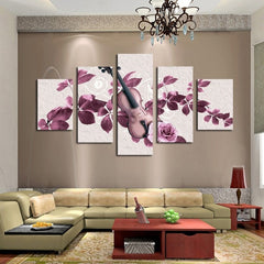 Lovely Purple Flowers and Violin - 5 Piece Canvas