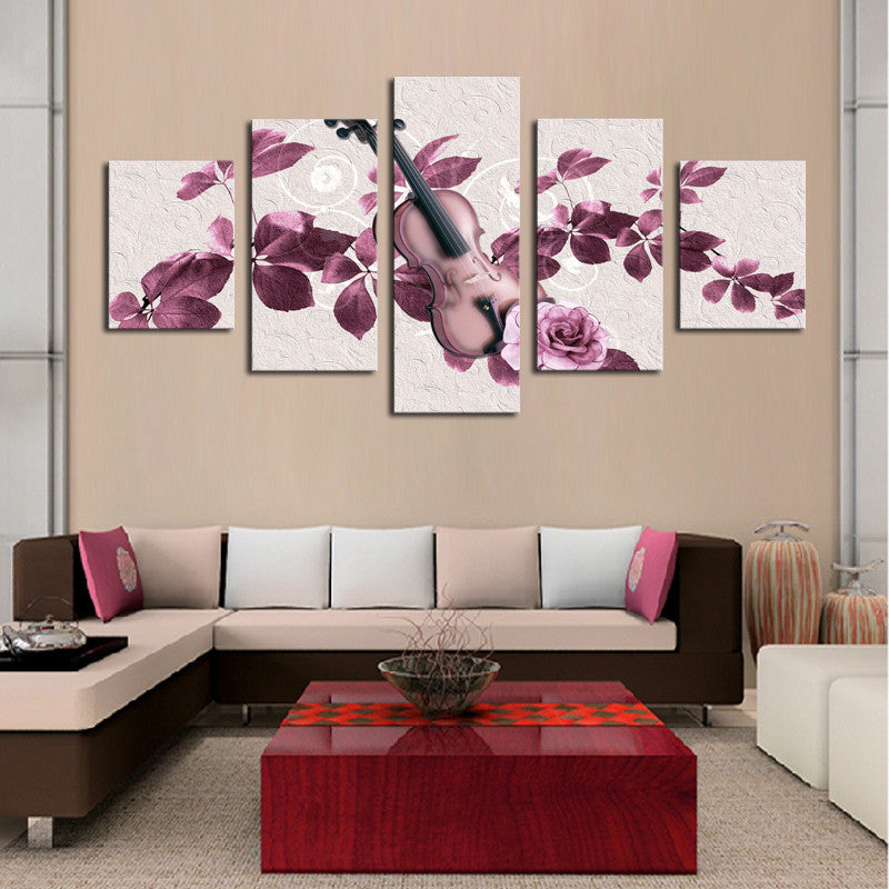 Lovely Purple Flowers and Violin - 5 Piece Canvas-Canvas-TEEPEAT