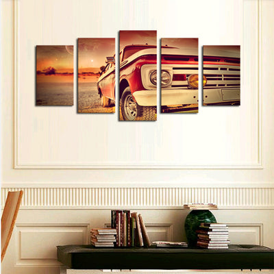 Sports Car Landscape View - 5 Piece Canvas Painting-Canvas-TEEPEAT