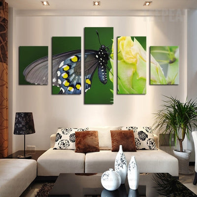 Gray Butterfly On The Yellow Flower - 5 Piece Canvas-Canvas-TEEPEAT