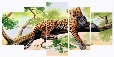 Red Leopard On The Tree - 5 Piece Canvas Painting-Canvas-TEEPEAT