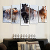 Horses Running Fast On The Snow - 5 Piece Canvas Painting-Canvas-TEEPEAT