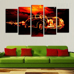 Old Car In Flame - 5 Piece Canvas Painting