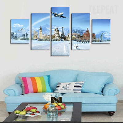 Jet Plane Over The World's Famous Buildings - 5 Piece Canvas-Canvas-TEEPEAT