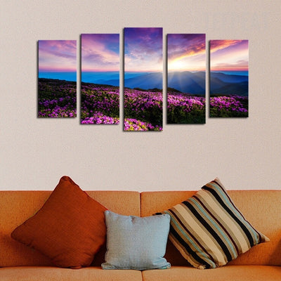 Flowers, Sunshine, Mountain and Sky Scenery - 5 Piece Canvas-Canvas-TEEPEAT