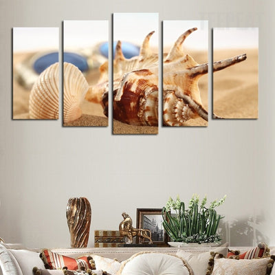 Polygonal Shells On The Seashore - 5 Piece Canvas Painting-Canvas-TEEPEAT
