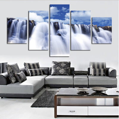 Magnificent Waterfalls And The Blue Skies - 5 Piece Canvas-Canvas-TEEPEAT