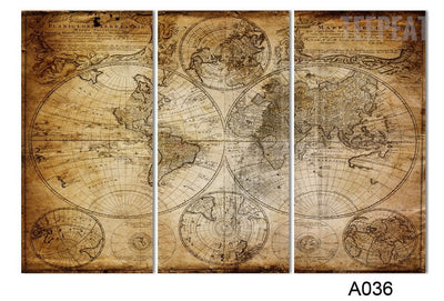 Mural World Map - 5 Piece Canvas-Canvas-TEEPEAT