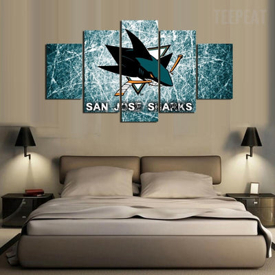 San Jose Sharks Sports Team - 5 Piece Canvas Painting-Canvas-TEEPEAT