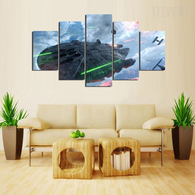Star Wars Falcon in Battle - 5 Piece Canvas Painting