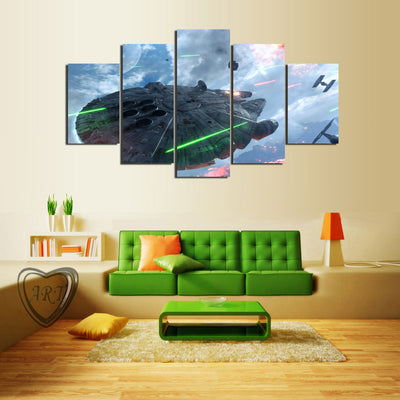 Star Wars Falcon in Battle - 5 Piece Canvas Painting-Canvas-TEEPEAT