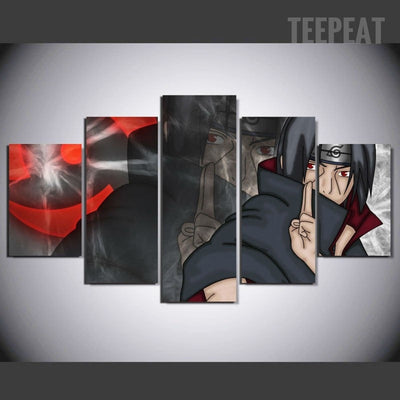 Naruto Uchiha Sasuke - 5 Piece Canvas Painting-Canvas-TEEPEAT