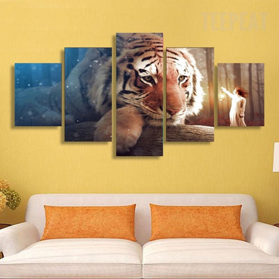 Lantern Girl Before The Big Tiger - 5 Piece Canvas-Canvas-TEEPEAT