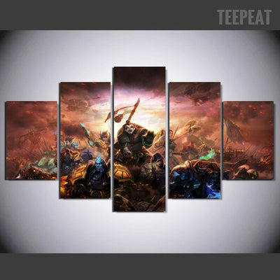 Ecstatic Warcraft Game World -5 Piece Canvas-Canvas-TEEPEAT