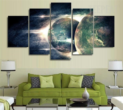 Magnificent Planets On The Universe - 5 Piece Canvas-Canvas-TEEPEAT