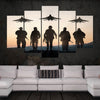 Five Soldiers And Three Fighter Jets Before The Setting Sun - 5 Piece Canvas-Canvas-TEEPEAT