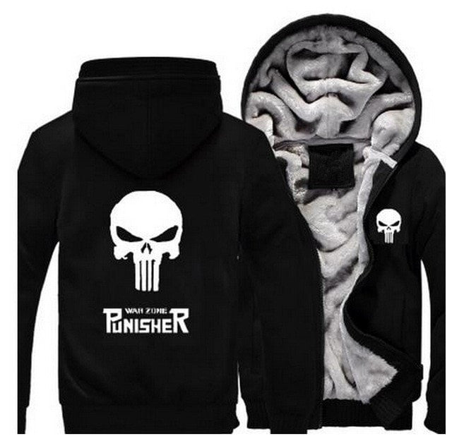 Punisher Skull Winter Hoodie  Fleece