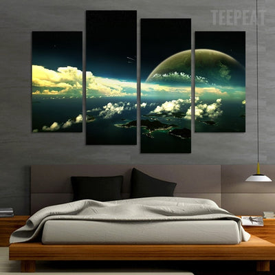 The Magnificent Earth View From Space - 4 Piece Canvas-Canvas-TEEPEAT