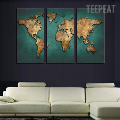 Southeast Asian Countries Map - 3 Piece Canvas-Canvas-TEEPEAT