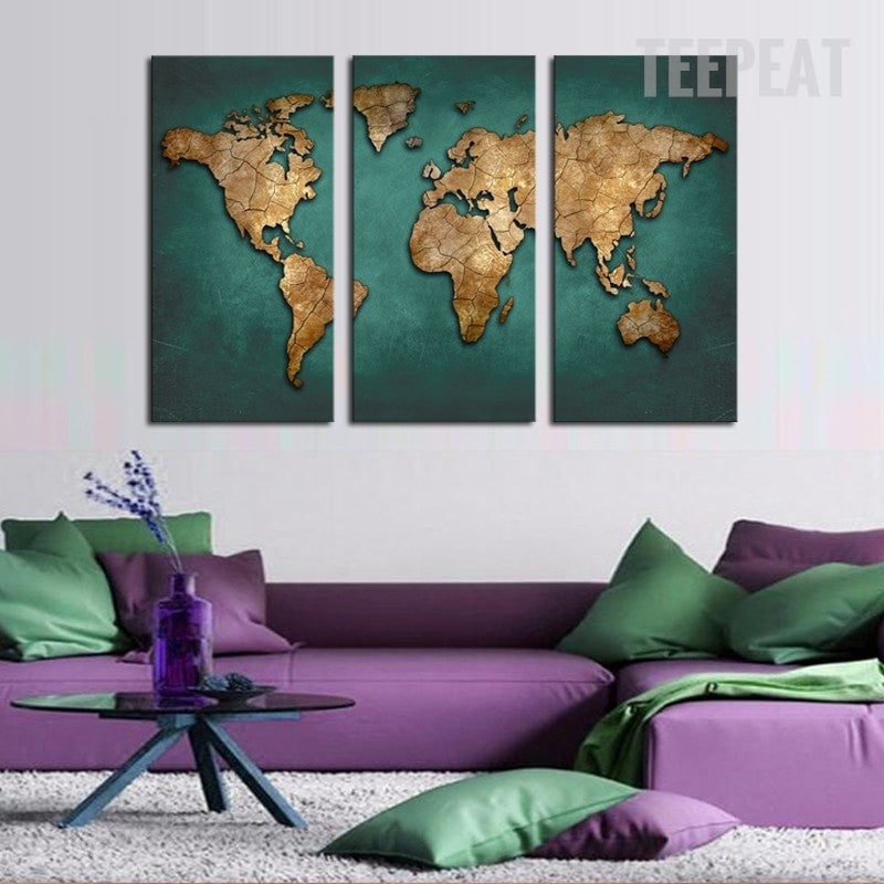 Map Of Asia 800 Ad.Southeast Asian Countries Map 3 Piece Canvas