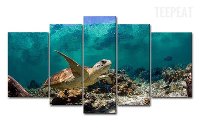 Turtle Under The Deep Blue Sea - 5 Piece Canvas Painting-Canvas-TEEPEAT