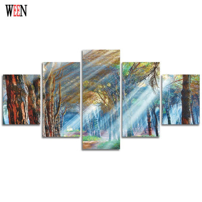 Beautiful Sunshine in the Forest - 5 Piece Canvas Painting
