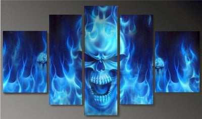 Blue Flamed Fire Skull - 5 Piece Painting