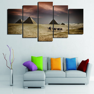 Ancient Egyptian Pyramids And Camels Before The Lovely Weather - 5 Piece Canvas-Canvas-TEEPEAT
