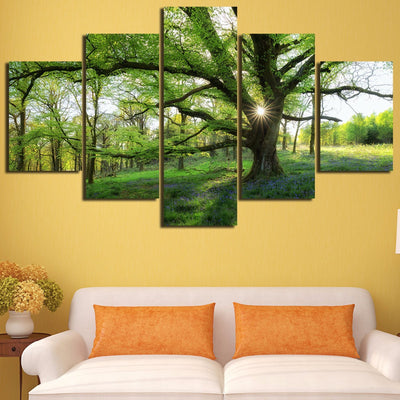 Trees and Sunshine Landscape- 5 piece canvas-Canvas-TEEPEAT