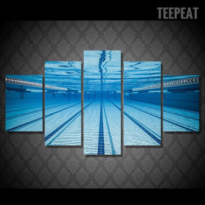 Swimming Pool Underwater View - 5 piece canvas-Canvas-TEEPEAT