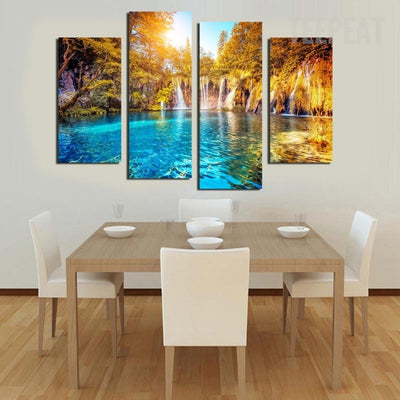 Enchanted Green Forest Lake - 4 piece canvas-Canvas-TEEPEAT
