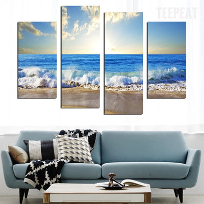 Sea Wave Before The Lovely Blue Skies - 5 Piece Canvas-Canvas-TEEPEAT