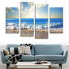 Sea Wave Before The Lovely Blue Skies - 4 Piece Canvas
