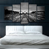 Trains on the Tracks : Black and White - 5 piece canvas