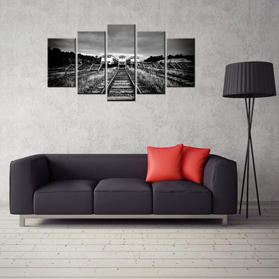 Trains on the Tracks : Black and White - 5 piece canvas-Canvas-TEEPEAT