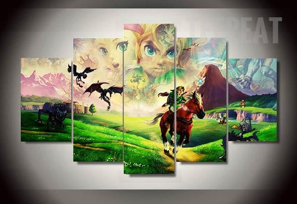 The 25 Years of Zelda - 5 Piece Painting