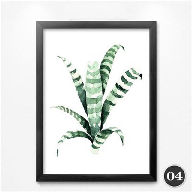 Nordic Minimalist Green Plants Painting