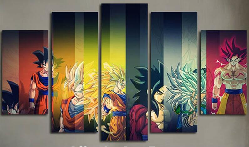 Colorful Dragon Ball Cast - 5 Piece Canvas Painting