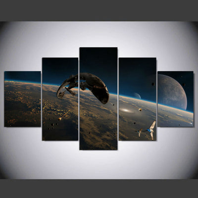 5 Piece Star Wars Space Battle Canvas Painting