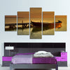 Scenery: A Boat in the River - 5 Piece Canvas Painting