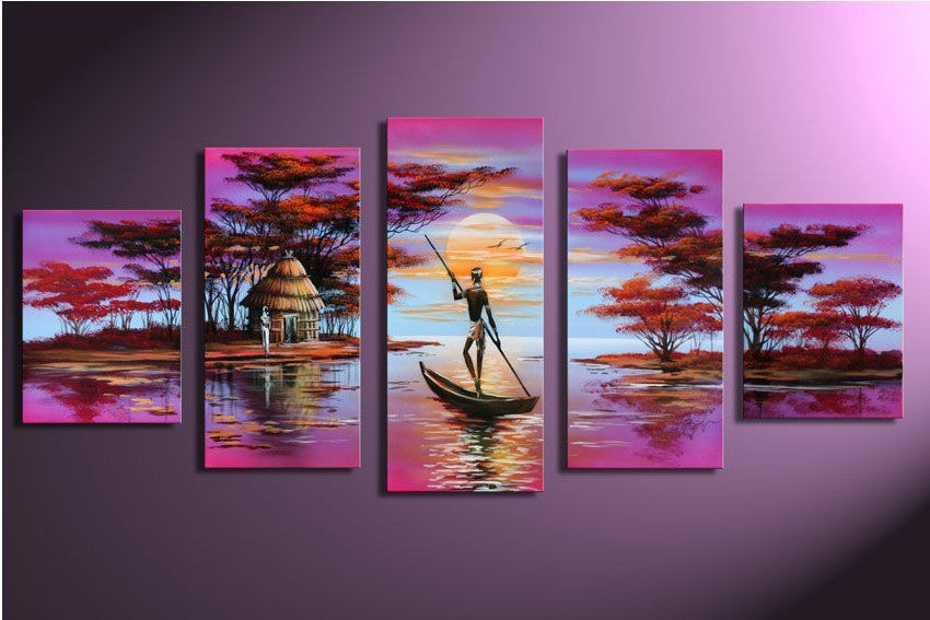 Shores in Africa - 5 Piece Canvas Painting
