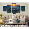 Romantic Lovers at the Seaside - 5 Piece Canvas Painting