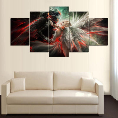 Angel and Demon Love - 5 Piece Canvas Painting