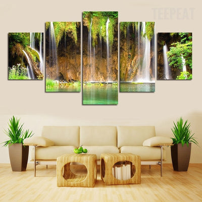 Waterfalls Painting - 5 Piece Canvas-Canvas-TEEPEAT