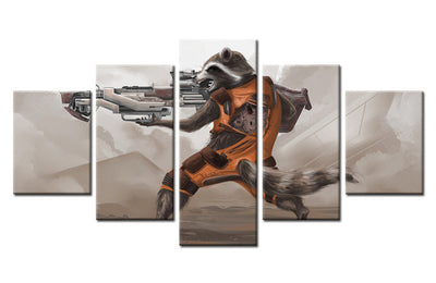Guardians of the Galaxy Rocket Racoon in Fighting Scene - 5 Piece Painting