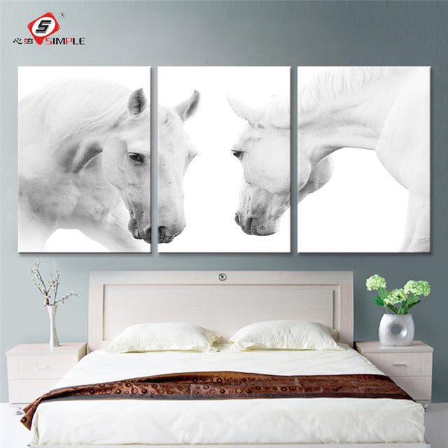 Face-Off  White Horses- 2 Piece Canvas Painting