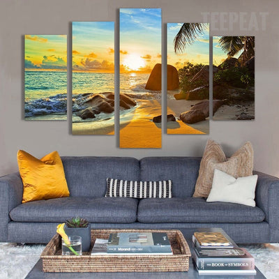 Sunset On The Ocean Painting - 5 Piece Canvas-Canvas-TEEPEAT