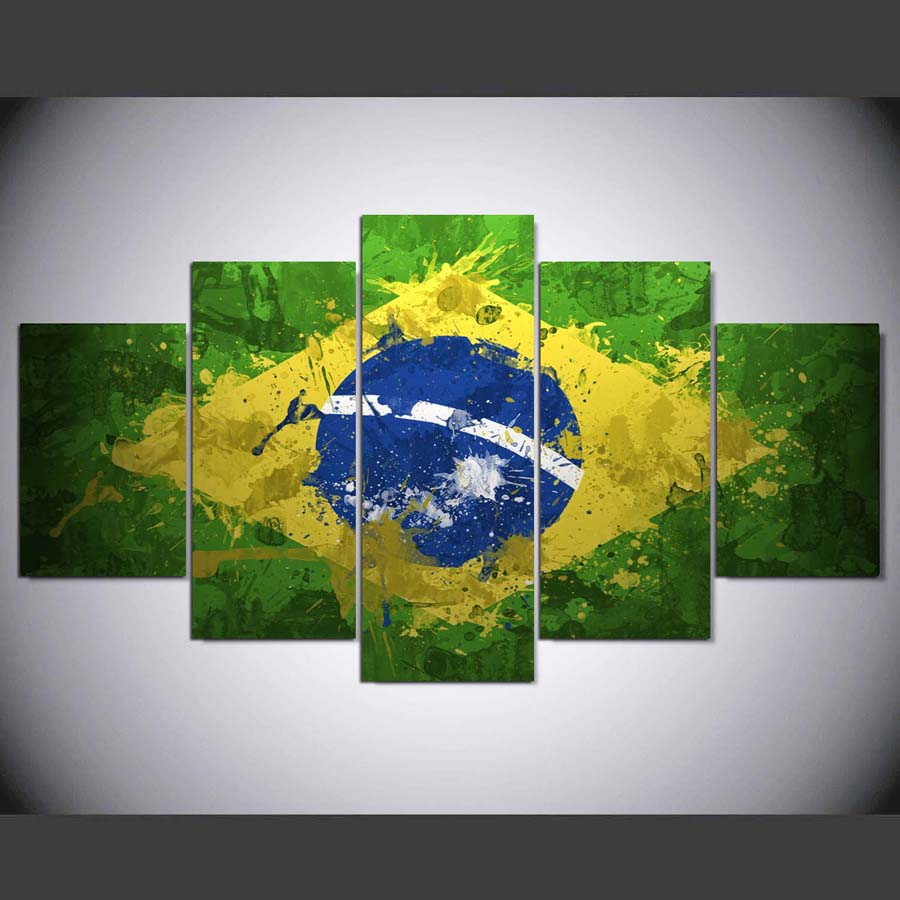 ORDEM E PROGRESSO: Flag of Brazil - 5 Piece Canvas Painting