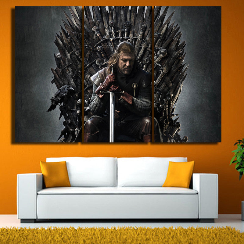 GOT : The Iron Throne - 3 Piece Painting