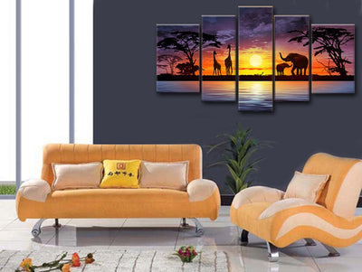 Beautiful Nature: Forest in Africa - 5 Piece Painting